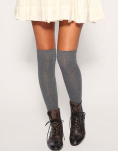 Gray wool thigh-highs