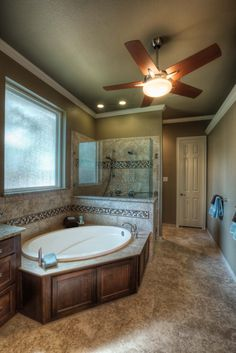 Remodeled bathroom. Nice tub and bathroom.