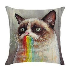 DSSY 18'' Rainbow Linen Cute Animal Pattern Panda Cat Throw Pillow Case Sofa Cushion Cover Home Decor (Rainbow Cat)