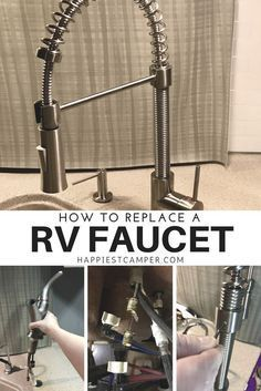 How to replace a RV Faucet. Install a new kitchen faucet in your RV. This new RV faucet made a huge difference in form and function. Love my RV faucet! Wyoming, Do It Yourself Camper, T3 Camper, Camper Life, Truck Camper, Shasta Camper, Pickup Camper, Rv Upgrades, Rv Redo