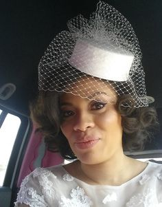 Pillbox Wedding Hat Silk Dupioni  Birdcage Veil  with door AnnLeslie