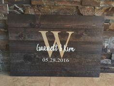 """**ABOUT THE SIGN**  Let your guests sign their names and then hang this keepsake in your home long after your wedding to remember your special day!  This wedding guestbook comes in four size options : (Sizes are approximate as the wood varies slightly.) 16""""x24"""" – (50-80 Guests) 20""""x30"""" – (80-120 Guests) 24""""x36"""" – (120-200 Guests) 24""""x48"""" – (200-300+ Guests)  The size of the design remains the same while the size of the wood increases or decreases to allow for the additional signatures.  We…"""