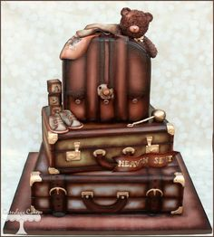 Vintage Luggage baby shower cake with diaper bag, teddy bear, etc. www.facebook.com/i.love.cuteology.cakes