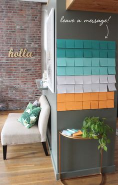 a wall of Post-It Notes for guests to leave well wishes & greetings during a party!
