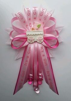 Pink Baby Shower Mommy corsage with carriage centerpiece