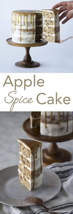 Perfect for Autumn, this delicious caramel apple spice cake is packed with apples, Fall spices and caramel. Click over for full recipe andante video! via @preppykitchen