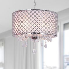 NOT A FAN OF THE CHAIN CORD- Carina Chrome Finish Drum Shade Crystal Chandelier