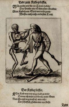 G28 - Le Musicien. Danse macabre du couvent des dominicains de Bâle (Suisse) (v. 1440). Gravure de Matthaeus Merian (1621).