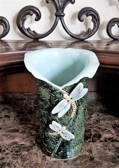 Dragonfly Vase - Wine Bottle Holder - Dragonfly Utensil Holder - Dragonfly Home Decor - Handmade Pottery - Stoneware - FREE SHIPPING Large Pillar Candles, Farmhouse Pottery, Dragonfly Art, Wine Bottle Holders, Utensil Holder, Stoneware Clay, Tea Light Holder, Handmade Pottery, Throw Rugs