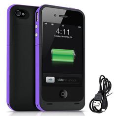Amazon.com: iPhone 5S 5 Battery Case, Rechargeable Portable 2500mAh Backup Power Bank External Protective Charger Case For iPhone 5S / 5, Full Body Protection,LED Battery Level Indicator (Purple): Cell Phones & Accessories