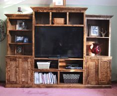 Smith Media Wall: Center Console plans by Ana White Diy Furniture Plans, Farmhouse Furniture, Bench Furniture, Rustic Furniture, Ana White, White Tv, Wall Entertainment Center, Entertainment System, Ikea