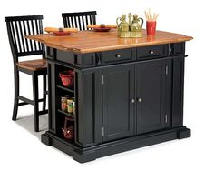 Compact Set Home Styles Kitchen Island.  Love the design.  Definitely gives you much-needed leg room PLUS storage.
