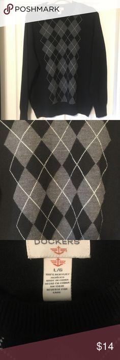 DOCKERS black and gray argyle sweater DOCKERS black and gray argyle sweater with long sleeves. DOCKERS Sweaters Crewneck