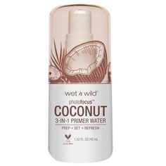 Wet n Wild Photo Focus Primer Water Coconut In Love With Coco Drugstore Primer, Drugstore Makeup, Photo Focus, Face Primer, Setting Spray, Skin Brightening, Makeup Yourself, Tropical, Shopping