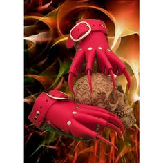 Red Devil Leather Dragon Claw Gauntlets Gloves Steampunk Goth Gothic... ($66) ❤ liked on Polyvore featuring accessories, gloves, gothic gloves, red gloves, leather gloves, red leather gloves and steam punk gloves