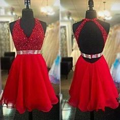 Homecoming Dresses,Red Homecoming Dresses,V-Neck Homecoming Dresses,Open Back Homecoming Dresses,Cheap Homecoming Dresses,Junior Homecoming Dresses,PD0534