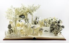 3D Alice in Wonderland Book Sculpture, One of a Kind