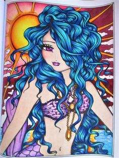 Mermaids, Fairies, & Other Girls of Whimsy Coloring Book od Hannah Lynn a pastelky prismacolor