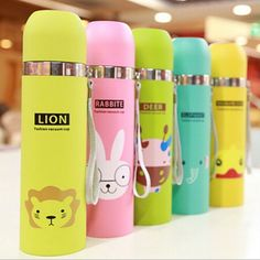 500Ml Stainless Steel Thermos Insulated Tumbler Travel Mugs Animal Vacuum Flask