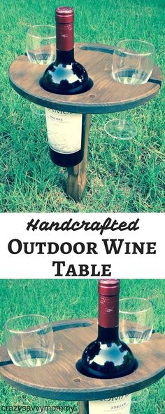 This beautifully handcrafted folding wine stand is a must have for all wine lovers. It fits your bottle of wine, two glasses and a plate of your favorite wine parings. Perfect for outdoor wine festivals, family picnics or just a quiet evening in your backyard! Click the link to buy it NOW at Etsy.com! #wine #whiteelephantgifts #christmasgiftsformom #christmasgiftsforfriends #diyhomedecor #ad #summer #outdoors #gardenideas #giftideas