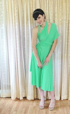 FALL SALE on all Ready to Ship convertible dresses - Short Free-Style infinity dress in Mint Matte  by toFREEyourSTYLE