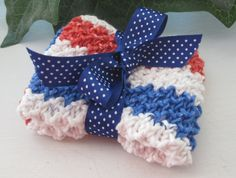 Red White And Blue Hand Knit Extra Large Cotton by ThePolkaDotSky, $3.95