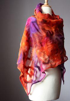 Light nuno felted shawl rust purple devore effect   von VitalTemptation , Etsy