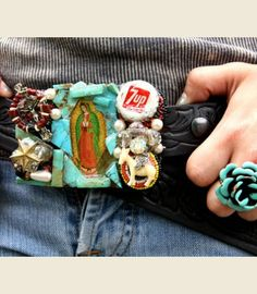 TURQUOISE GUADALUPE REVIVAL . . handmade from 100% recycled goods! these turquoise guadalupe revival buckles are true works of art! handcrafted in oklahoma by fleamarket friends of the gypsies!!!! each buckle will vary slightly, each is gorgeous!