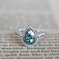 Montana Sapphire in 18k white gold & diamond setting J ALBRECHT DESIGNS