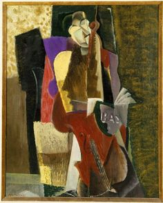 Max Weber (American, born Russia, 1881-1961). The Cellist, 1917. Oil on canvas. Max Weber painted this small canvas the year after his marriage, and some scholars have attributed the quiet, decorative sensibility of this and other of his works to the calming influence of domestic life. In this Cubist rendering of a cellist, the figure's closed eyes hint at the ecstasies of making music.