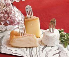 A Wedding Cheese Table (love the vintage fork cheese markers
