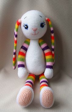 Crochet Bunny  Crochet toy  Multicoloured soft bunny от NittoMiton