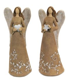 Rustic and charming with plenty of intricate details, this set adds quaint and warm style to entryways and country-inspired living rooms alike. Christmas Angel Decorations, Angel Christmas Tree Topper, Christmas Angels, Paper Mache Sculpture, Pottery Sculpture, Paper Mache Crafts, Clay Crafts, Clay Angel, Pottery Angels