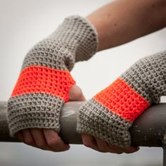 Orange Grey Fingerless Gloves / Crochet Arm Warmers by RUKAMIshop