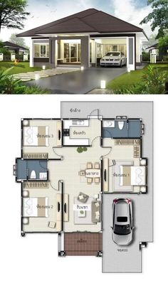 20 3 Bedroom Bungalow House Design with Floor Plan 3 Bedroom Bungalow House Design with Floor Plan. 20 3 Bedroom Bungalow House Design with Floor Plan. 3 Concepts Of 3 Bedroom Bungalow House Bungalow Floor Plans, Modern House Floor Plans, Simple House Plans, Family House Plans, Modern Bungalow House Design, Single Floor House Design, Small House Design, Floor Design, Small Bungalow