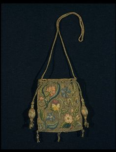 Purse Place of origin: Great Britain, UK Date: Materials and Techniques: Embroidered linen canvas with silk and silver-gilt threads, lined with silk, horn Museum number: Vintage Purses, Vintage Bags, Vintage Handbags, Beaded Purses, Beaded Bags, 17th Century Clothing, Century Textiles, V & A Museum, Sweet Bags