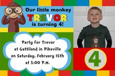 4x6 Curious George Birthday Invitation. Contact me at aswiney01@yahoo.com to have this or any other invitation customized for you. Click on the image to visit my facebook page or visit my Pinterest board to see more samples.