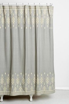 Bath - Magical Thinking Embroidery Shower Curtain I Urban Outfitters - gray and ivory embroidered shower curtain, gray and cream embroidered shower curtain, embroidered shower curtain,