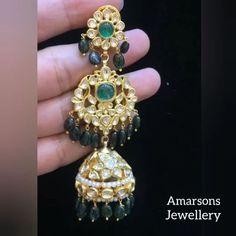 Polki Emerald Jhumki / Hanging Stunning Jhumki by Amarsons Pearls and Jewels Diamond Earrings Indian, Gold Jhumka Earrings, Indian Jewelry Earrings, Gold Earrings Designs, Gold Jewellery Design, Silver Jewelry, Daisy Jewellery, Gold Designs, Designer Jewellery
