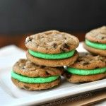 Mint Chocolate Chip Cookie Sandwiches