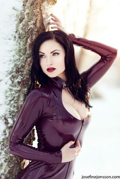 Love the luscious lips on this model the purple bodysuit latex (via _Aurora II. by *Bloddroppe on deviantART)