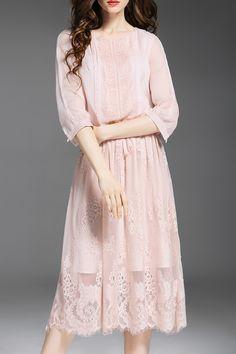 Krush.miu Pink Solid Color Drawstring Lace Spliced Dress | Midi Dresses at DEZZAL