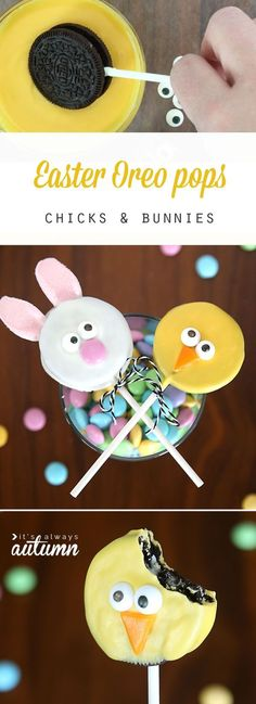These are so cute! Easter bunny and Easter chick Oreo pops. Easy to make with video tutorials. My kids would love these!