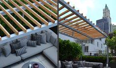 modern aluminum pergola - Google Search Rooftop Terrace Design, Oak Meadow, Aluminum Pergola, Wood Cladding, Office, Landscaping, Porch, Outdoors, Future