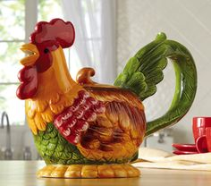 Country Rooster Ceramic Kitchen Teapot