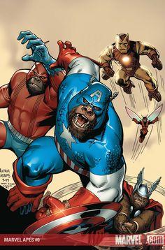 Marvel Apes no.0 comic book cover art by Arthur Adams