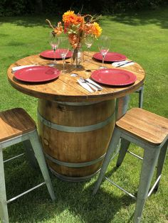Wine Barrel Pub Table Handcrafted with used California white oak wine barrel and wooden cable spool end. Both sanded and refinished with Spar Urethane for indoor or outdoor use. Used Furniture For Sale, Diy Furniture, Outdoor Furniture Sets, Outdoor Decor, Cable Spool Tables, Wooden Cable Spools, Barrel Table, Wine Decor, French Oak