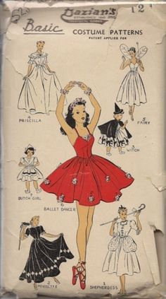Vintage sewing pattern for Halloween costumes  #witch  #ballerina  #vintageHalloween