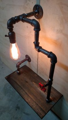 Pipe Lamp + Bookshelf Steampunk Restoration Vintage Zig Zag Industrial