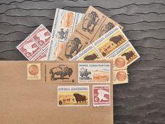 Western .. Rustic .. UNused Vintage Postage Stamps  by VerdeStudio, $6.95